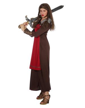 Disfraz de vikingo rojo para mujer