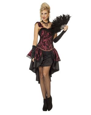 Rødt 20er cabaret ballerina kostume til kvinder