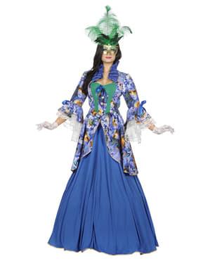 Blauw carnaval kostuum van Venetië voor vrouwen
