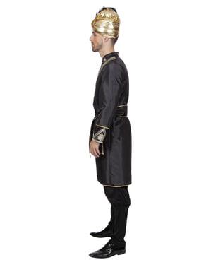Costume da cavaliere dell'India nero per uomo