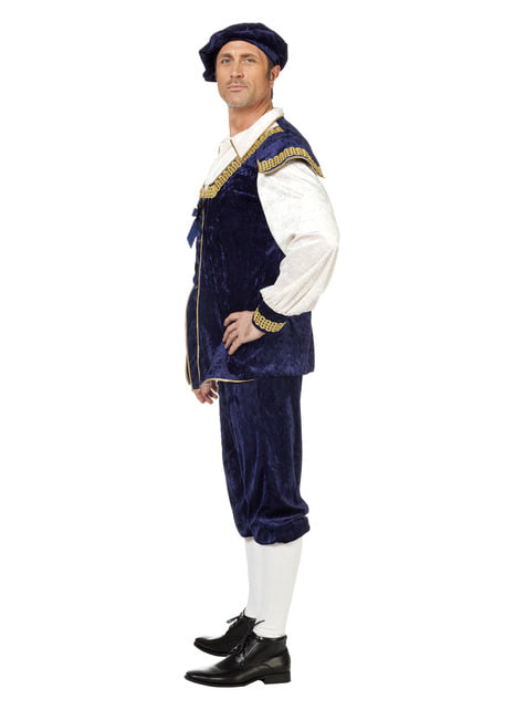 Disfraz de lord del siglo XV azul para hombre