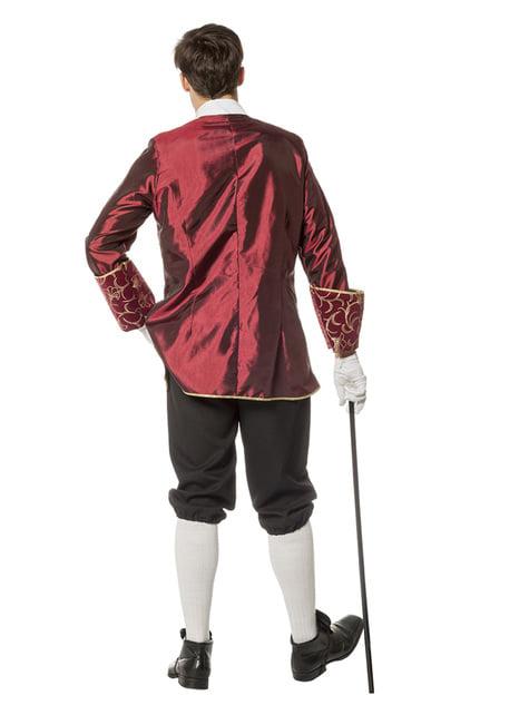 Disfraz de Marqués granate para hombre - traje