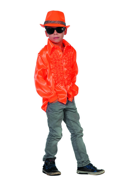 Camisa disco de los 70's naranja infantil