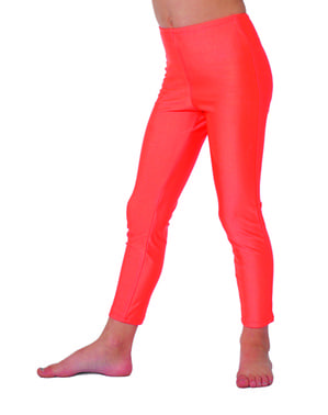 Orange 70's disco leggings for girls