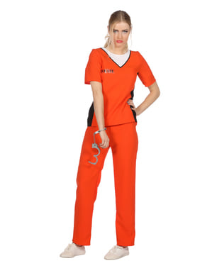 Sträfling Kostüm orange für Damen