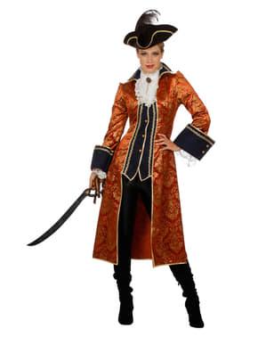 Piratin Kostüm orange für Damen