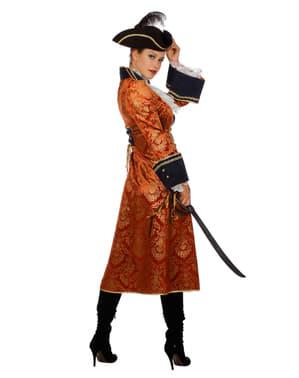 Oransje pirat kostyme til dame