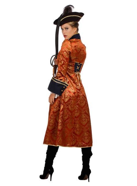 Pomarańczowy Strój pirata dla kobiet