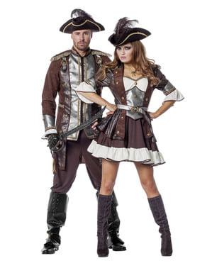 Brązowy Strój pirata deluxe dla kobiet