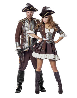 Costume da pirata deluxe marrone per donna