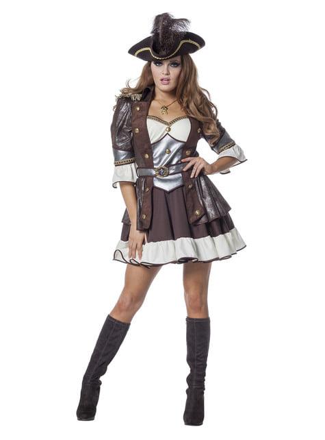 Disfraz de pirata deluxe marrón para mujer - mujer