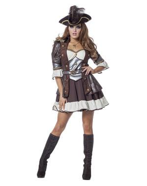 Deluxe bruin piraat kostuum voor vrouw