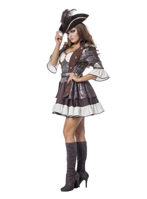 Disfraz de pirata deluxe marrón para mujer - original
