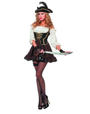 Brunt pirat kostyme til dame