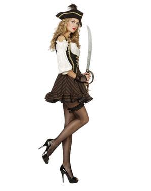 Disfraz de pirata marrón para mujer