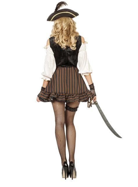 Disfraz de pirata marrón para mujer - original