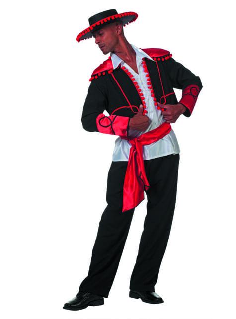 Fato de cavaleiro argentino em preto para homem