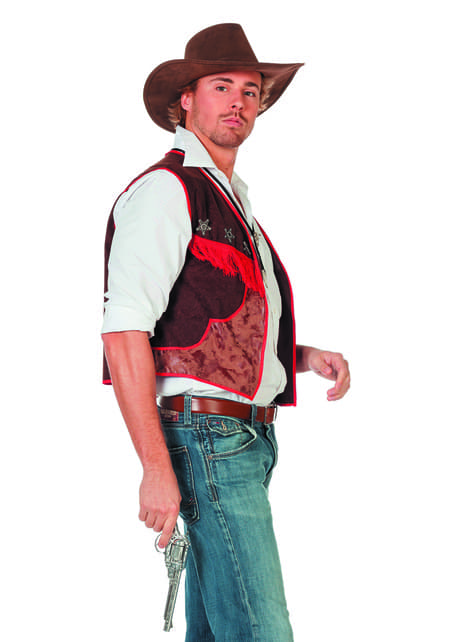 Chaleco de vaquero marrón para hombre
