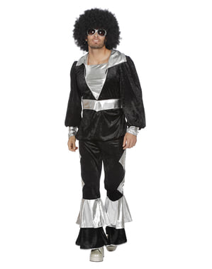 Sort 70'er disco kostume til mænd