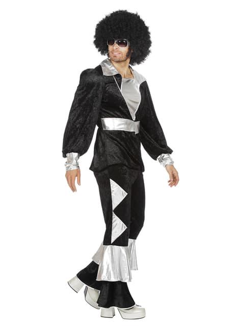 Black 70's disco costume for men