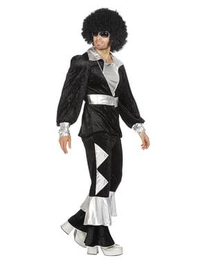 Svart 70-talls disko kostyme til menn
