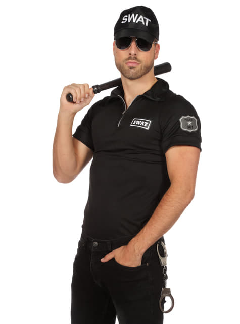 T-shirt de Agente SWAT em preto para homem