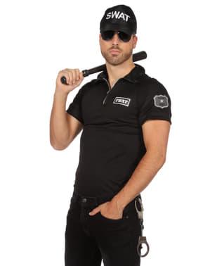 男性用ブラックSWATエージェントTシャツ