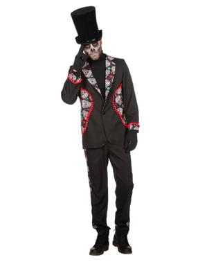 Svart Day of the Dead kostyme til menn