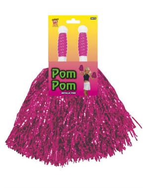 Pink metallic pompoms