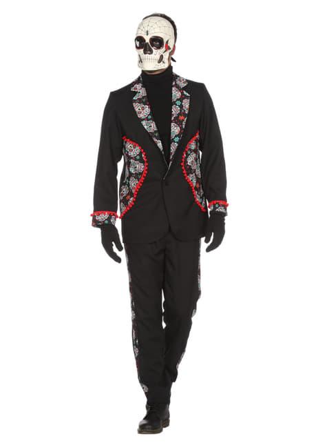Disfraz de Día de los Muertos negro para hombre - original