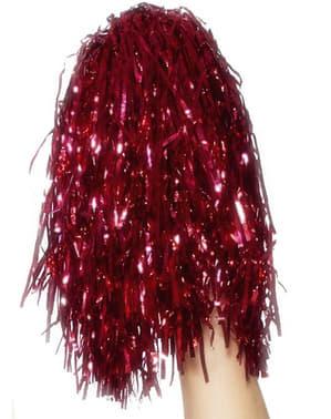 Pompons rouges métalliques