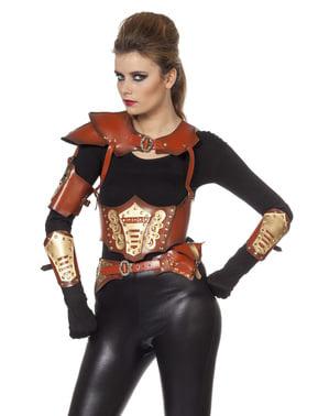 Fato de Guerreiro viking castanho para mulher