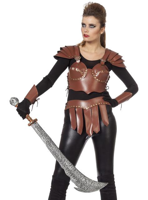 Disfraz de Guerrero vikingo dorado para mujer
