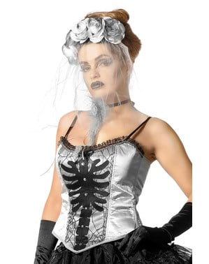 Corset squelette gris femme