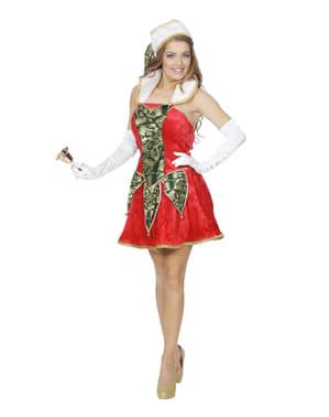 Červený vianočný škriatok kostým pre dospelých
