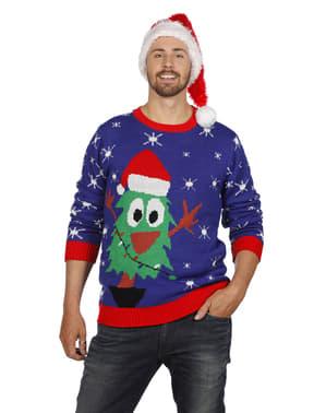 Weihnachtspullover blau für Erwachsene