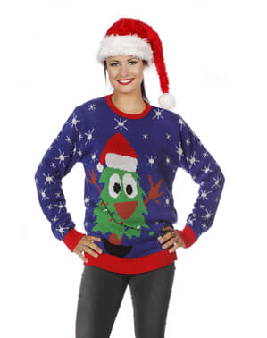 Pulover de Crăciun albastru pentru adult