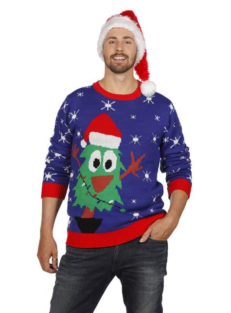 Camisola natalícia azul para adulto