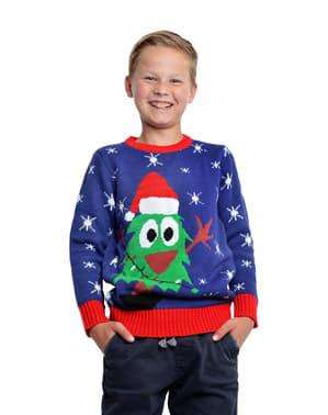 Pulover de Crăciun albastru pentru copii