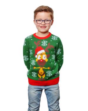 Pulover de Crăciun verde pentru copii