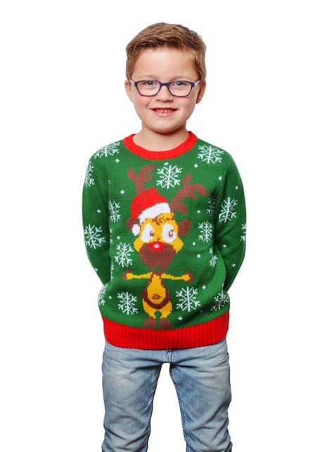 Camisola natalícia verde infantil