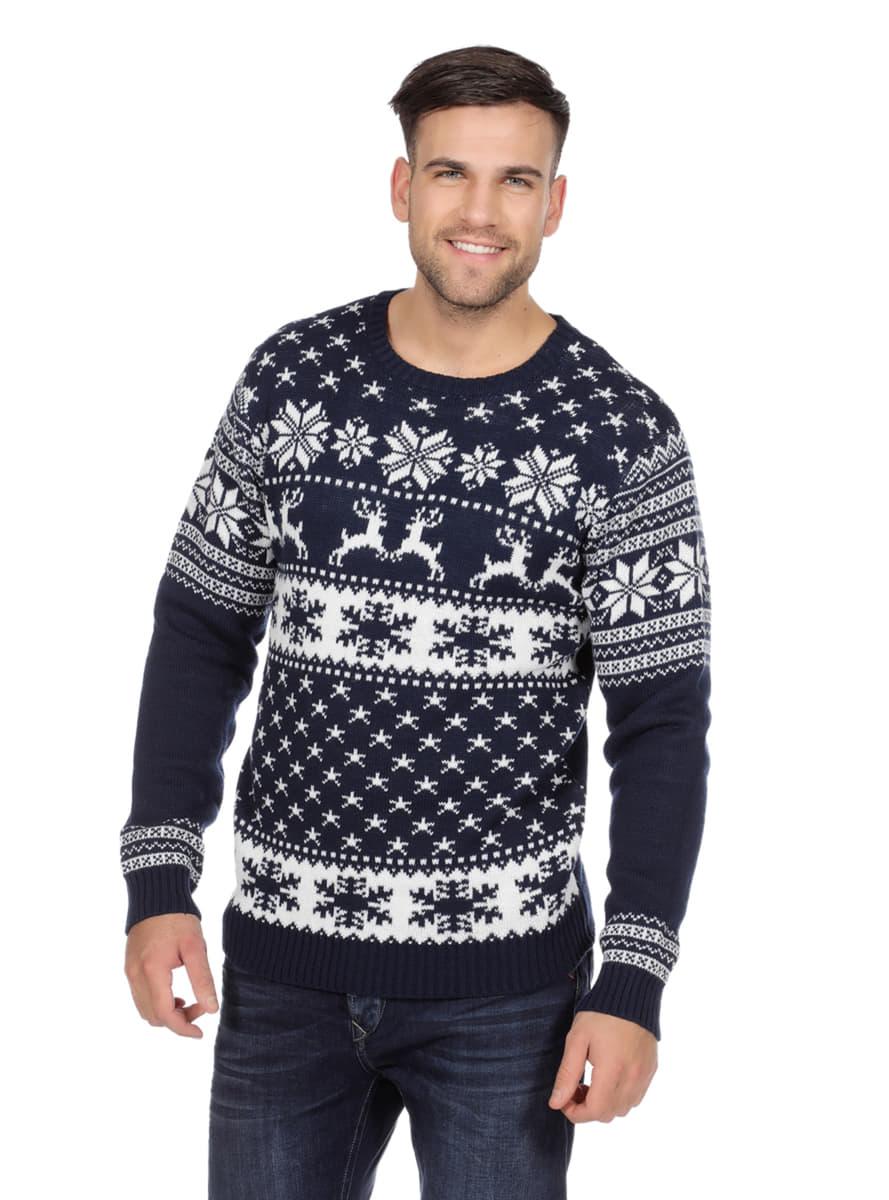 Weihnachtspullover classic blau für Erwachsene. 24h Versand | Funidelia