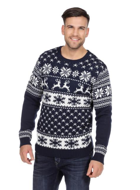 Jersey navideño clásico azul para adulto