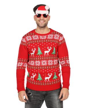 Pull de Noël classique rouge adulte