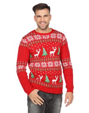 Maglione natalizio classico rosso per adulto