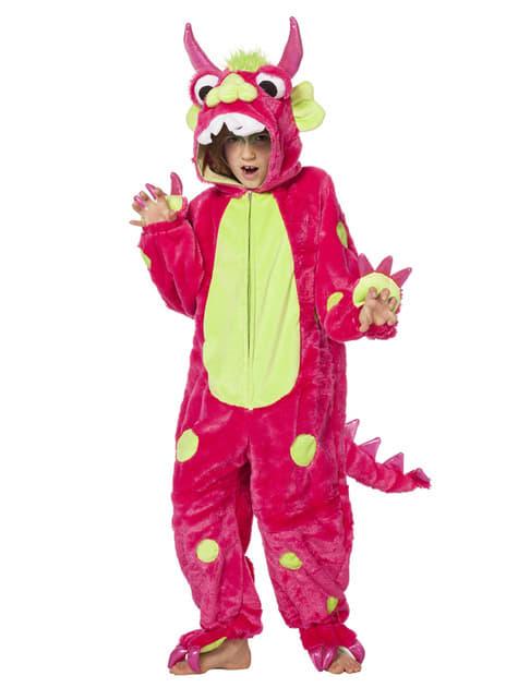Fato de monstro cor-de-rosa infantil