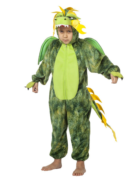 Green Chinese dragon costume for kids