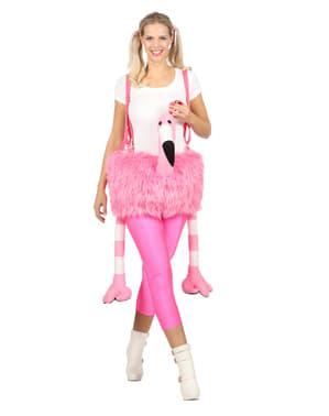 Disfraz de flamenco montado rosa para adulto