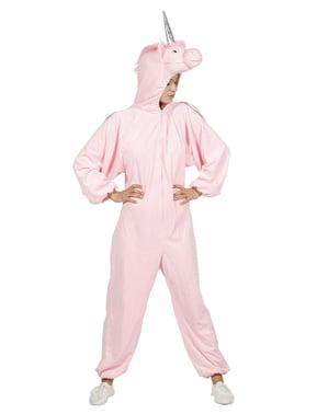 Pink enhjørninge heldragt kostume til voksne
