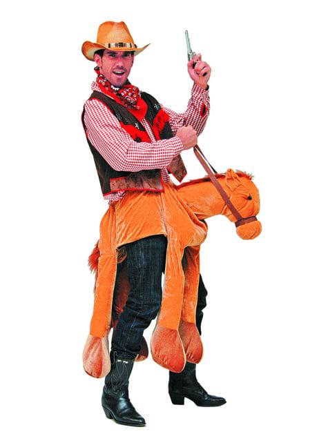 Disfraz de caballo montado por vaquero para adulto